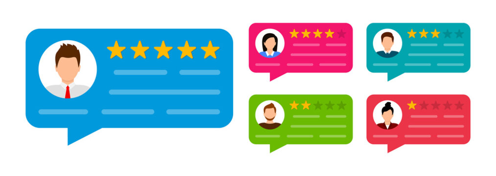 User reviews set. Customer feedback. Review of rated bubble speeches with stars. Notification message. Feedback rating. Vector illustration.