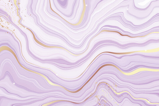 Abstract dusty violet liquid marbled watercolor background with golden lines. Pastel purple marble alcohol ink drawing effect. Vector illustration design template for wedding invitation