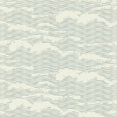 Vector seamless pattern with abstract wavy pattern, imitation of the sea waves or clouds in the sky. Decorative repeating illustration of the sea or ocean in retro style
