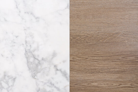 Wood and white marble stone texture background. Wooden and marble stone floor