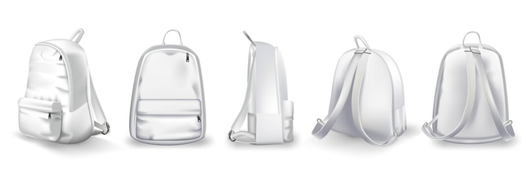 White backpack design front, side and back view set. College or school rucksack mockup vector illustration. Realistic youth pack of fabric for study or sport with shadows