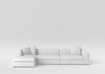 Obraz white modern sofa-bed on white background. minimal concept idea. monochrome. 3d render. - fototapety do salonu