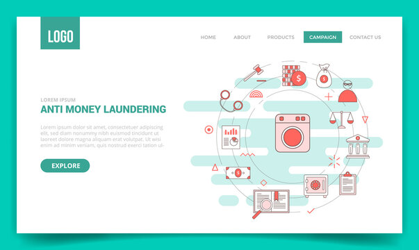 aml anti money laundering concept with circle icon for website template or landing page banner homepage outline style