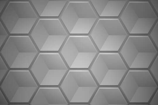 Abstract hexagon shapes gray background