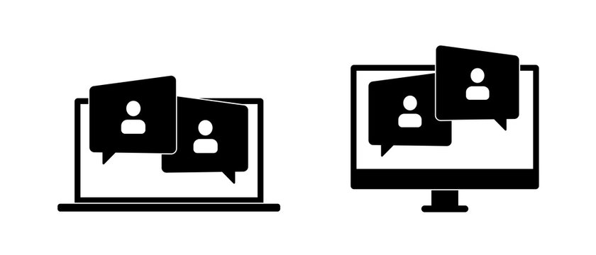 Video Conference Online Meetings Teleconference on Laptop Icon Virtual Chat Symbol Sign. Suitable for Online School Class, Work from Home WFH, Web Seminar or Webinars, Student Group
