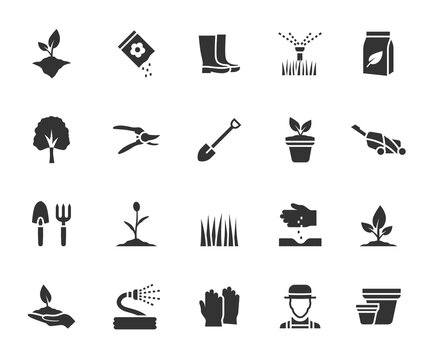 Vector set of gardening flat icons. Contains icons plant, grass, garden tool, fertilizer, gardener, lawn mower, tree and more. Pixel perfect.