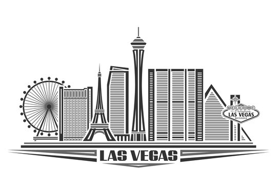 Vector illustration of Las Vegas, monochrome poster with simple design buildings and outline landmarks, urban concept with modern city scape and decorative font for words las vegas on white background