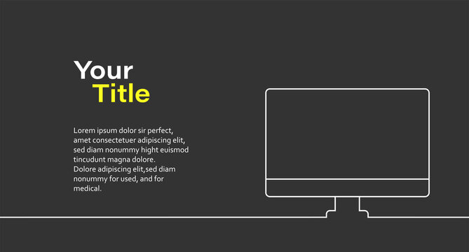 Your title text here. Banner with desktop PC, for promotion content