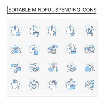 Mindful spendings line icons set. Conscious buying, conscious consumer,buy less. Shopaholism, sales, green thinking. Buying fewer concepts. Isolated vector illustrations. Editable stroke