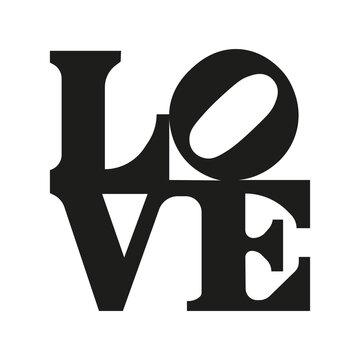 Love lettering. 3d letters. Vector illustration