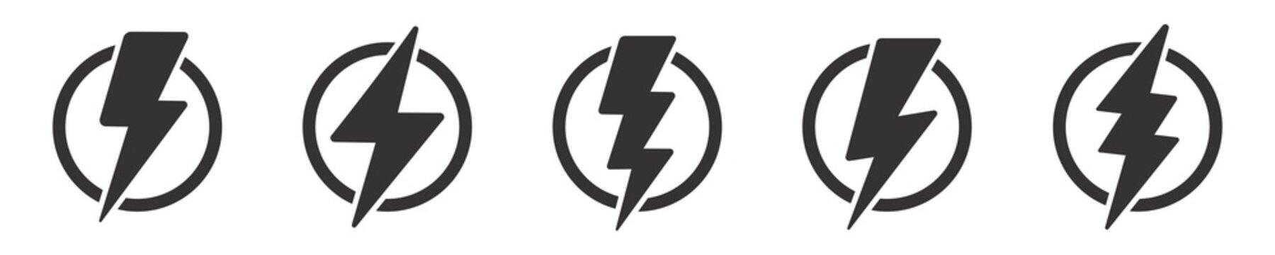 Lightning bolt icon set, Thunderbolt in the circle, flash electric symbol, Vector illustration