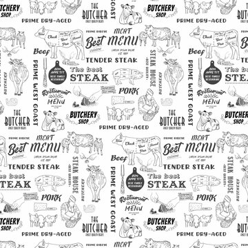 Hand drawn meat, steak, beef and pork, lamb seamless pattern. Vintage design template, banner. Vector.