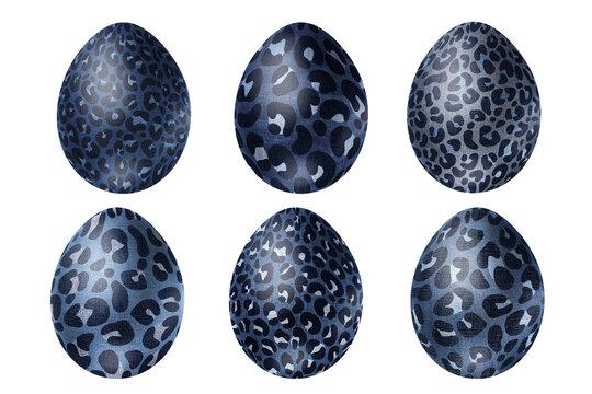 Fantastic denim eggs with leopard skin print. Modern clip art set on white background