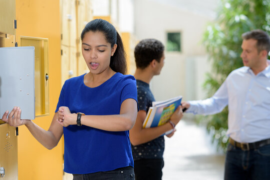 woman student late for class