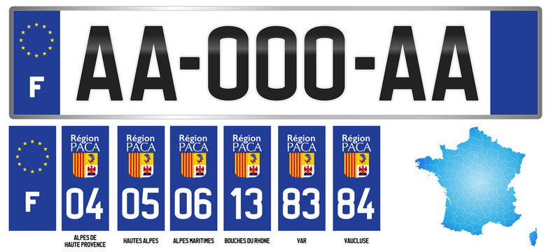 PACA, french license plate, detail of the side label of the department, vector illustration
