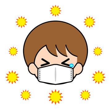 花粉症 マスク 男の子 男性 マーク
