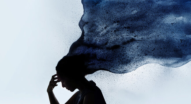 Mental Health Concept. Exhausted Depressed Female touching Forehead. Stressed Woman combined with Silhouette photo and Watercolor