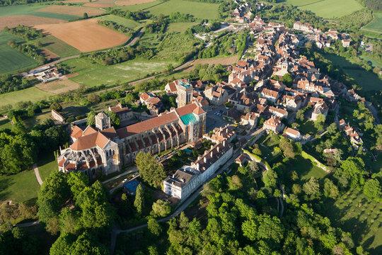 Vézelay Basilica seen from the sky, Yonne department in Bourgogne-France-Comté, France