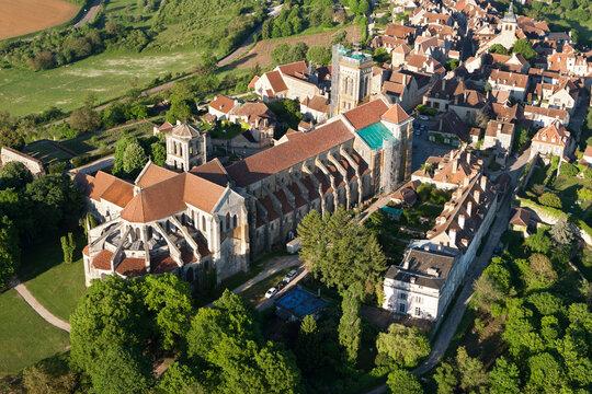 Basilica of Vézelay seen from the sky, Yonne department in Bourgogne-Franche-comté région, France