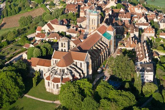 Aerial photograph of Sainte-Marie-Madeleine de Vézelay Basilica , in Yonne department, Bourgogne région, France