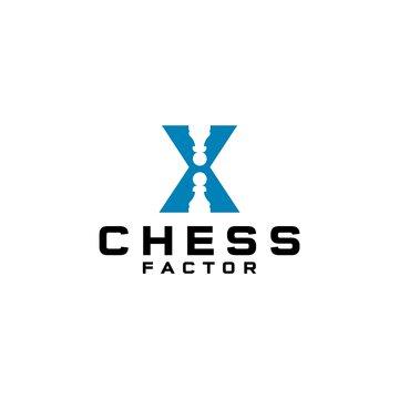 X Chess Factor Logo Design Vector