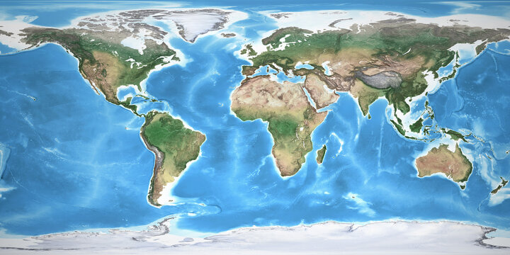Physical map of the World, with high resolution details. Flattened satellite view of Planet Earth, its geography and topography. 3D illustration - Elements of this image furnished by NASA