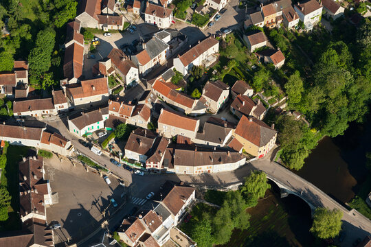 Arcy-sur-Cure seen from the sky, Yonne department in Bourgogne région, France