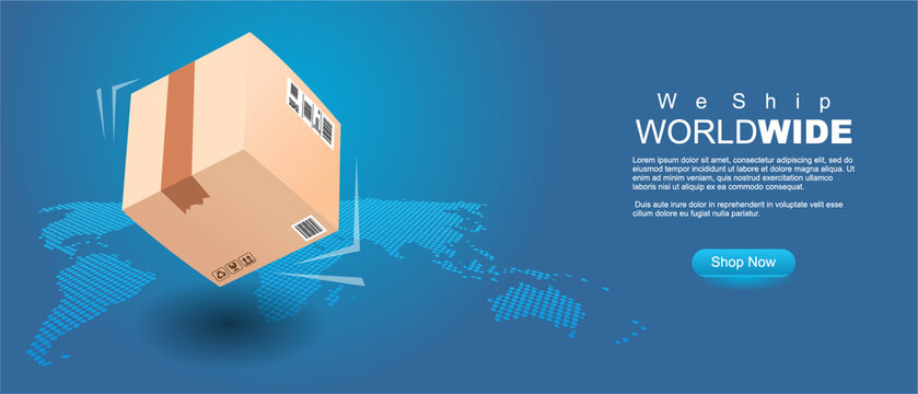 we ship world wide banner. 3d style shipping package in front of map, clean modern style vector illustration