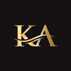 Obraz Initial linked letter KA logo design. Modern letter KA logo design vector with modern trendy - fototapety do salonu