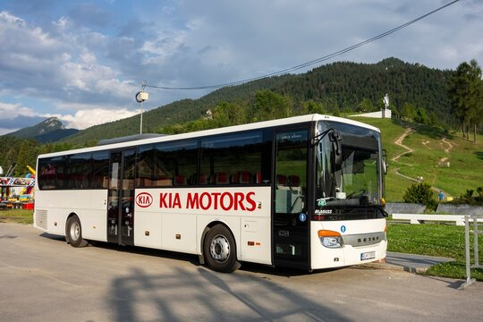 Setra S 415 UL business coach of KIA Motors company which transports people to car manufacturing facility in Zilina, Slovakia