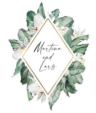 Boho tropical frame clipart, White magnolia floral borders. Tropical wedding borders clipart, Mothers day card diy, Baby shower, logo design