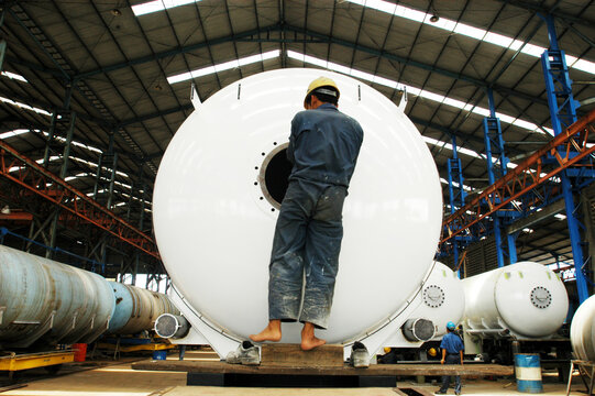 The results of gas tank production in a factory in the industrial complex along, Sidoarjo, East Java, Indonesia.