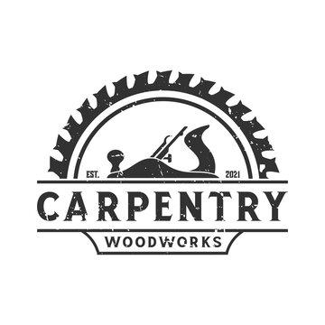 retro vintage, jack plane carpentry woodwork logo. design template, vector illustration.