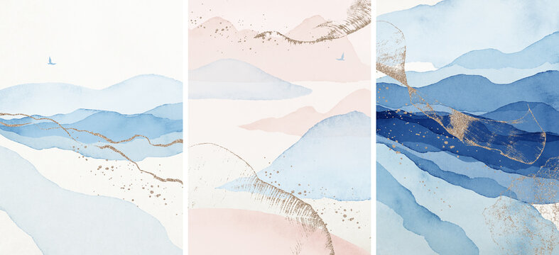 Abstract Arrangements. Landscapes, mountains. Posters. Blue, navy, gold, blush, pink, ivory, beige watercolor Illustration, background. Modern print set. Wall art. Business card. Printable. Pastel.