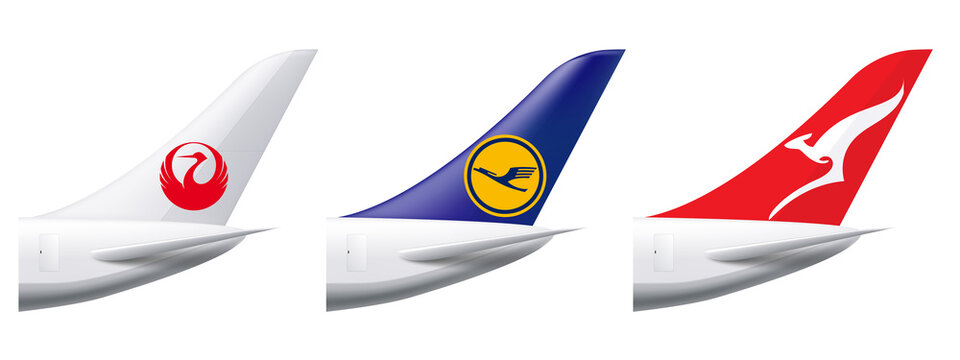 Aircraft of Japan Airline, Lufthansa and Qantas Airline. For editorial use.