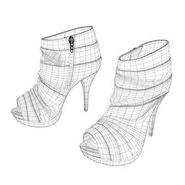High-heeled shoes wireframe. Womens shoes isolated on white background. 3D. Vector illustration