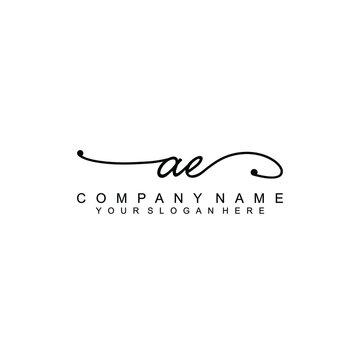 AE Beautiful initial handwriting logo template