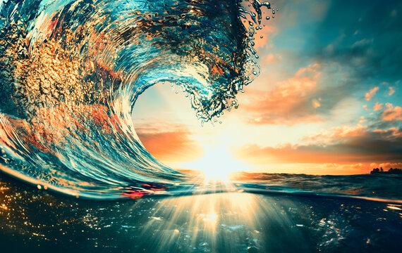 Ocean Wave sunset sea surfing background