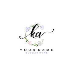 Obraz KA beautiful Initial handwriting logo template - fototapety do salonu
