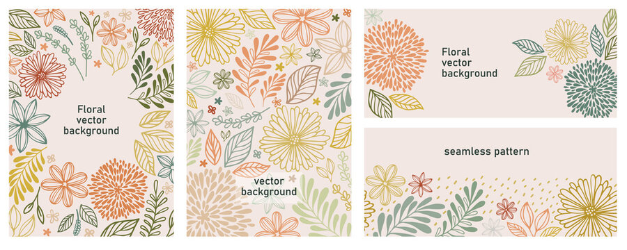 Set of universal hand drawn floral template for cover. Home decor, backgrounds, cards. Children abstract and floral design in doodle style. Vector illustration and seamless pattern