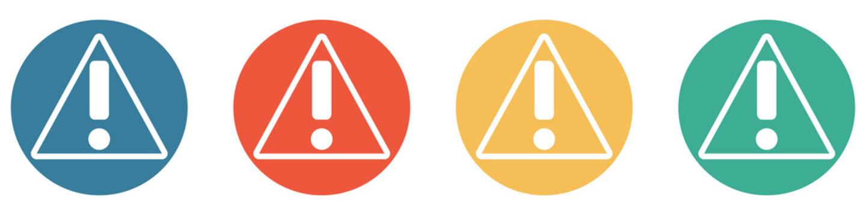 Bunter Banner mit 4 Buttons: Vorsicht, Alarm, Warnung