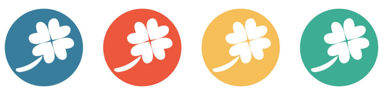 Bunter Banner mit 4 Buttons: Viel Glück - vierblättriges Kleeblat
