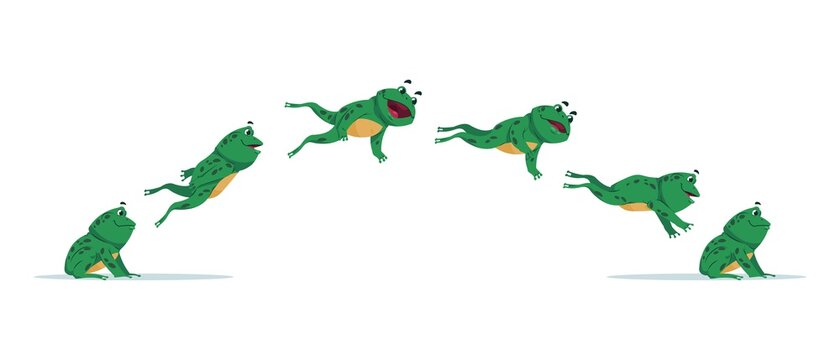 Jumping frog. Cartoon animation sequence with amphibian movement. Side view of aquatic animal jump process. Isolated moving green toad. Funny croaking creature. Vector stages of leap set