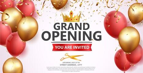 Fototapeta Grand opening card design with gold ribbon and confetti obraz