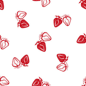 Strawberry linocut seamless vector pattern background. Stencil style hand drawn pairs of red berries on white backdrop. Duotone garden fruit design. All over print for farm food market vintage concept