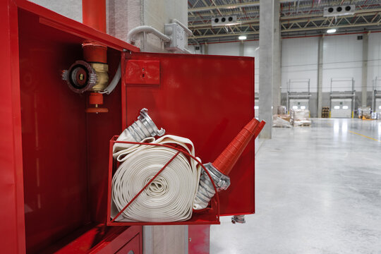 fire safety in the warehouse. new fire hydrants. red box. fire protection system for the industry.