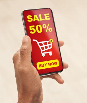 Man using shopping application on smartphone, closeup