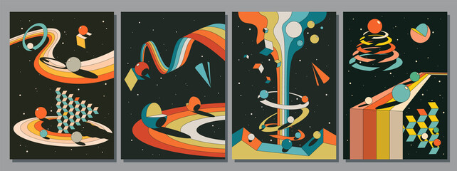 Abstract Psychedelic Space, Geometric 3D Shapes Fototapete