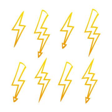 Set of different energy lightning symbol for design on white