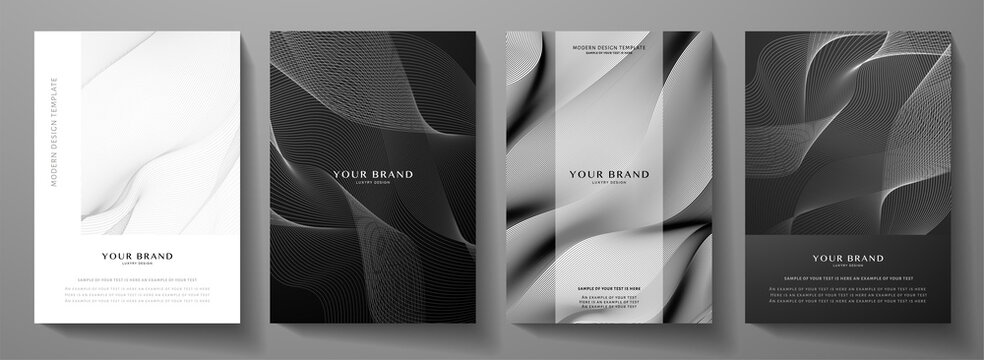 Modern cover design set.  Abstract wavy line pattern (guilloche curves) in monochrome color: black, white. Premium stripe vector layout for business background, certificate, brochure template, booklet
